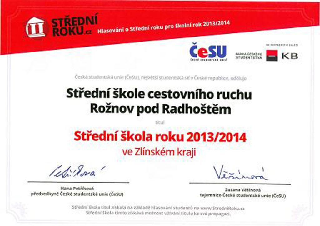 Diplom-nejlepší škola 2013/2014